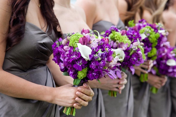purple and silver bridesmaids