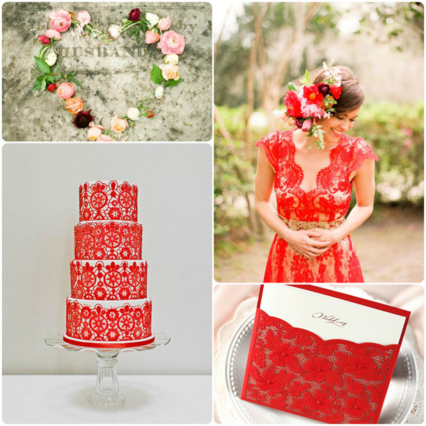 red lace wedding ideas