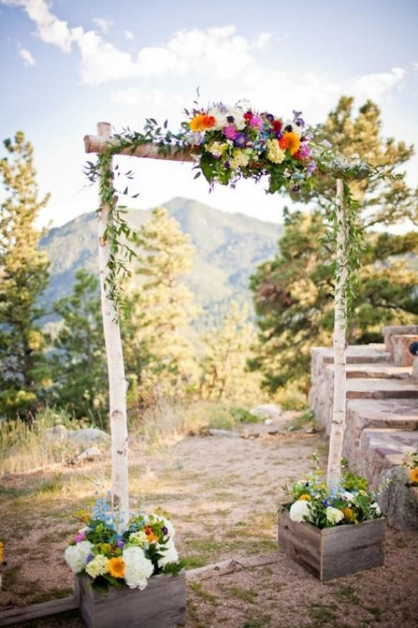 rustic outdoor wedding arches