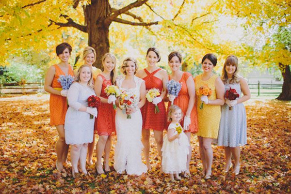 2013 pretty fall wedding colors bridesmaid dresses