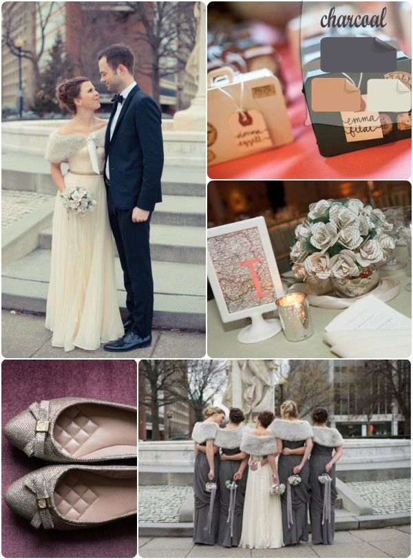 2013 trends white and gray charcoal winter wedding color inspirations