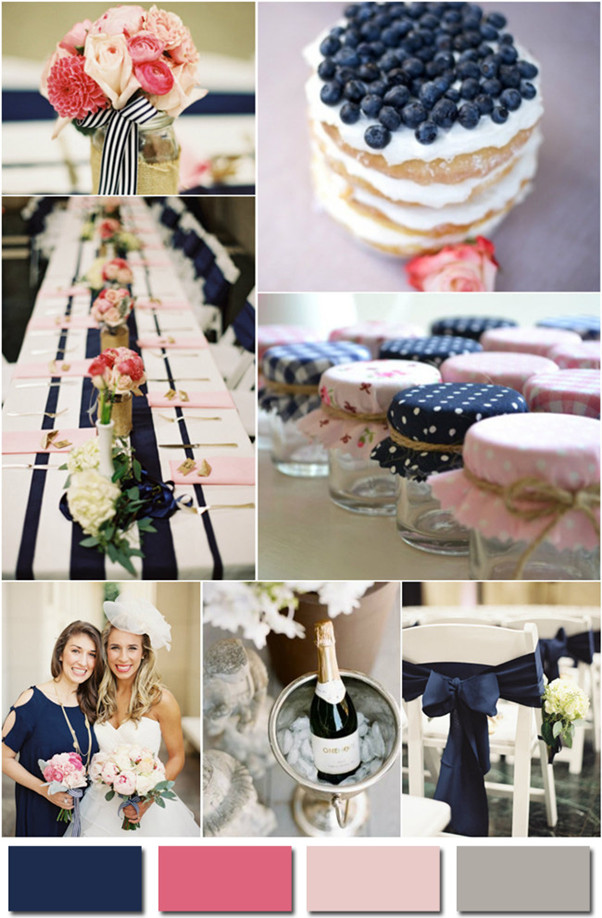 2014 navy blue pink and gray color wedding ideas for beach weddings
