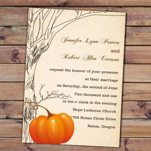 pumpkin fall wedding invitation
