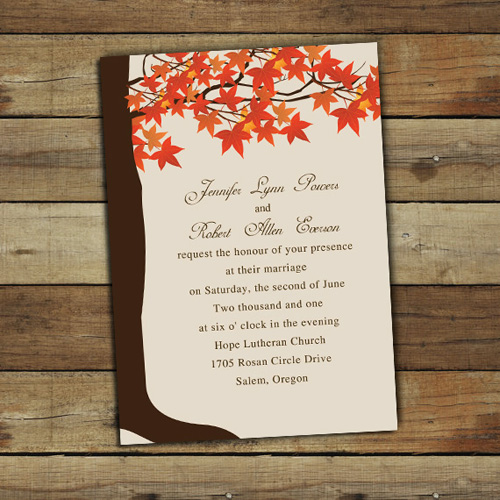 fall trees wedding invitations