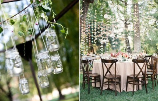DIY backyard wedding reception ideas with wooden chairs and mason jars