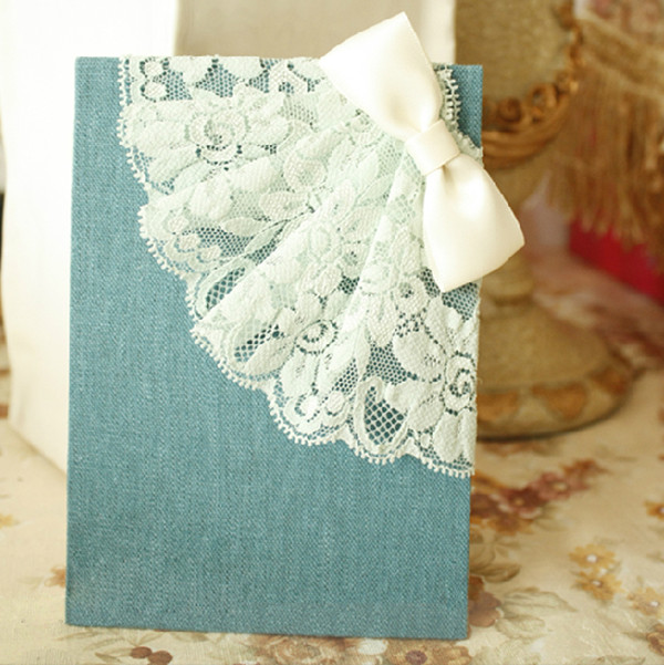 Denim Blue luxury royal weddding invitations decorated with lace for 2014 trends
