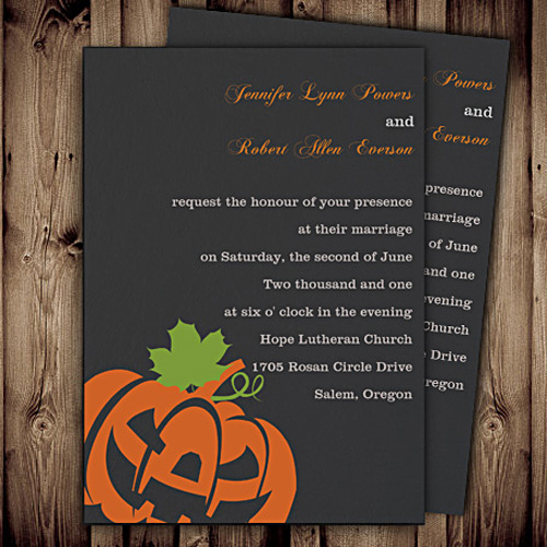 Halloween fall wedding invitations