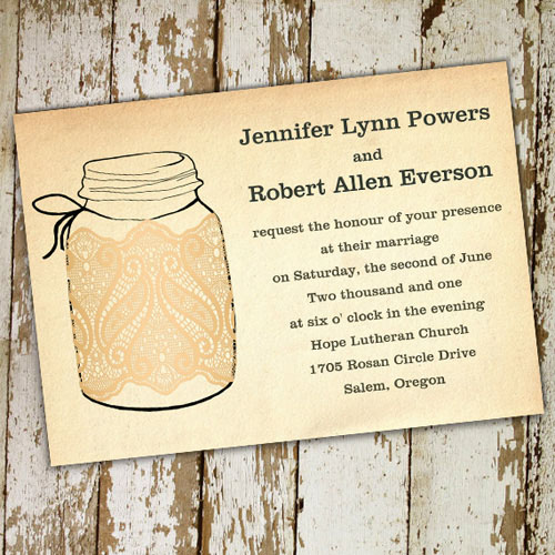 Fall mason jar wedding invitations