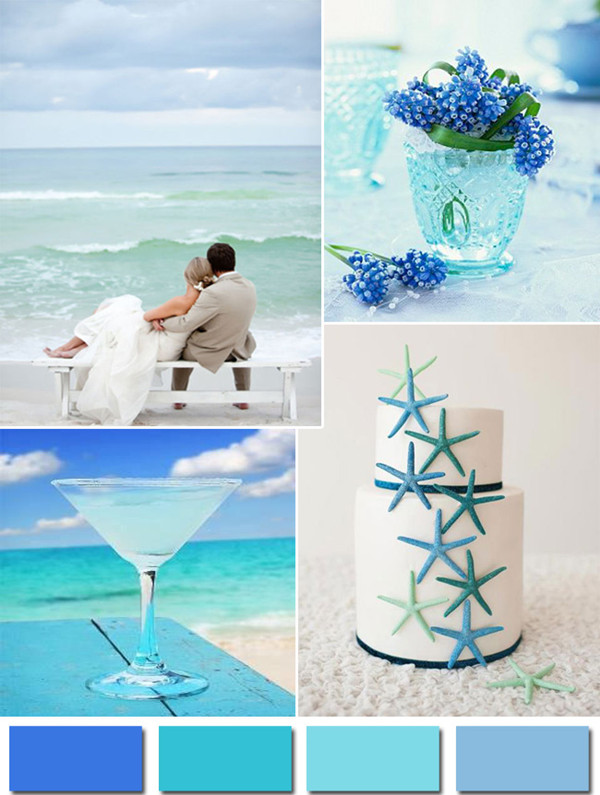 aqua shades of blue inspired 2014 color trends for beach weddings