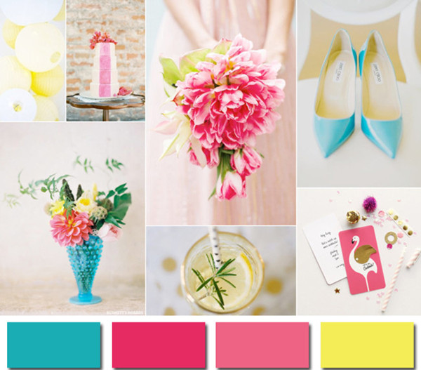 aqua yellow and pink wedding ideas for 2014 color trends
