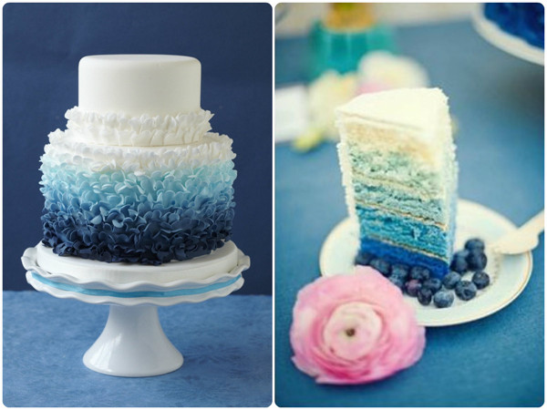 blue ombre wedding cakes