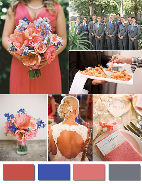 coral and blue wedding ideas for 2014 trending color ideas