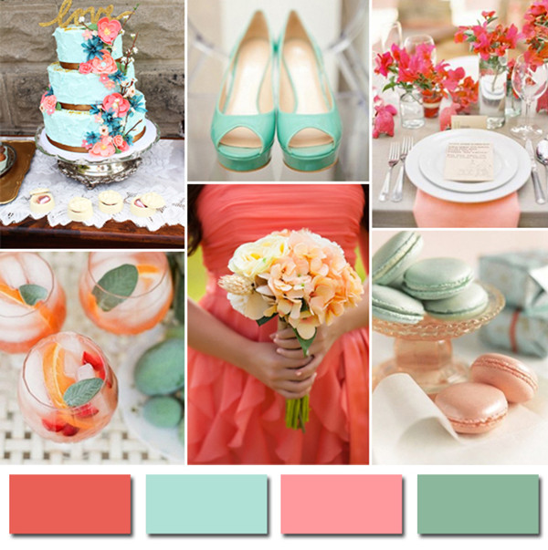 coral and mint green 2014 wedding color trends ideas