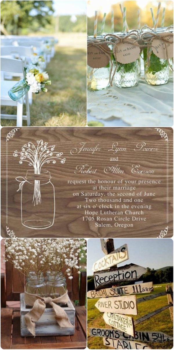 country rustic fall wedding invitations ideas 2013 with mason jars