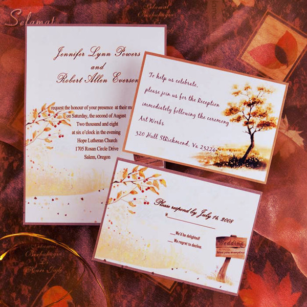 country style gold rustic fall cheap wedding invitations