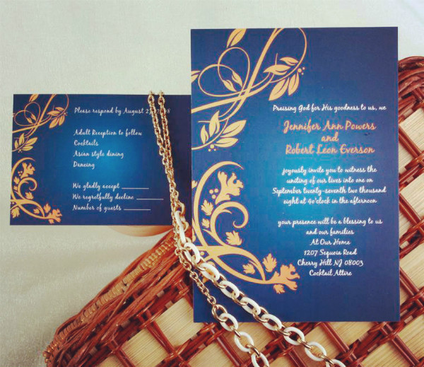 elegant navy blue and gold damask fall wedding invitations