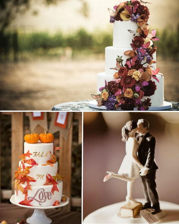 fall wedding cake and toppers
