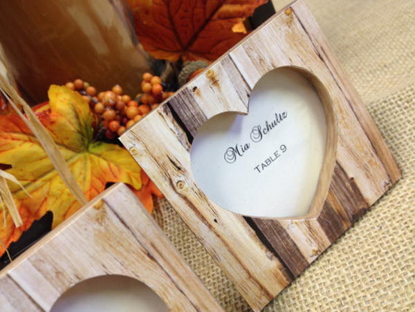 fall wedding favors frame place card holder