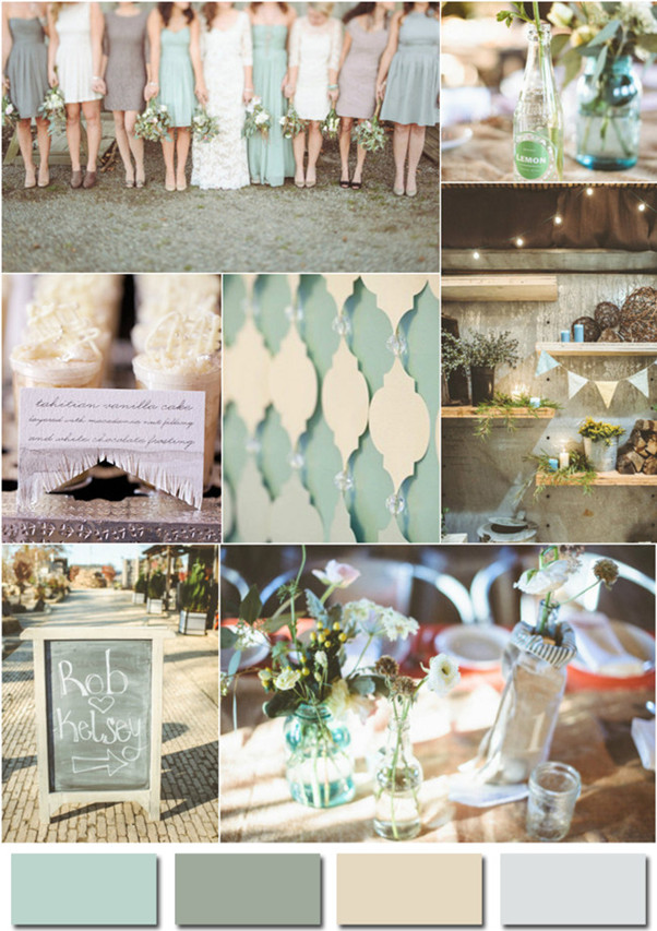 mint green gray and ivory wedding colors 2014 trends