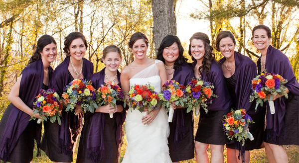 orange and purple fall wedding bridesmaid dresses and bouquets