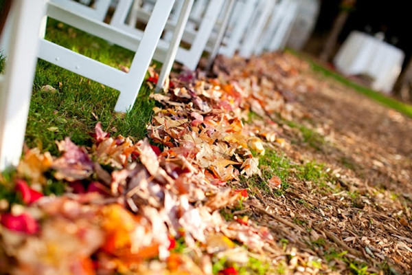 outdoor fall leaves aisle decorations 2013 ceremony