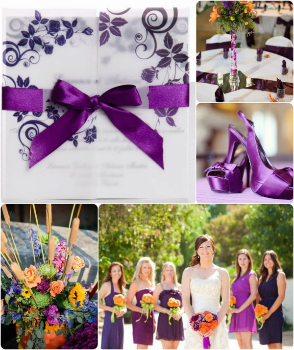 purple and orange fall wedding ideas with ribbon wedding invitations
