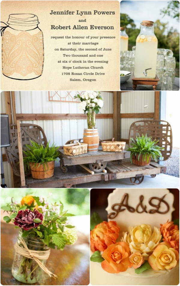 rustic fall wedding invitations and wedding inspirations 2013 decorated with mason jars