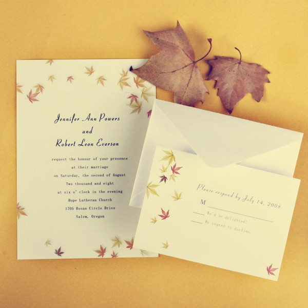 simple elegant maple leaves fall affordable wedding invitation