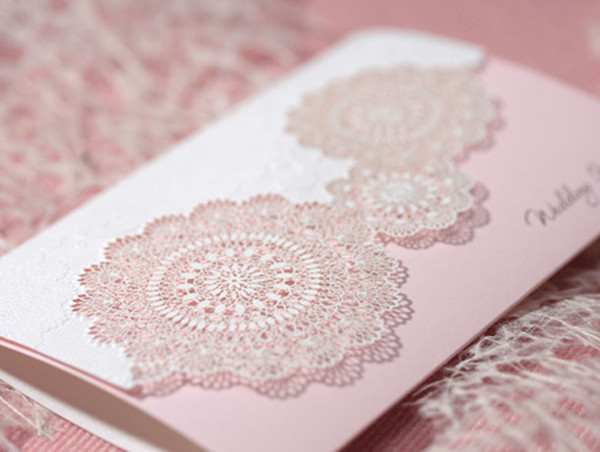 sweet pink lace laser cut folded wedding invitations