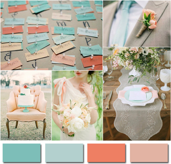 tiffany blue and pink blush wedding ideas 2014 trends