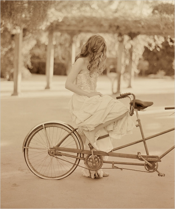 vintage style bridal with bicycle inspiration for fall weddings 2013