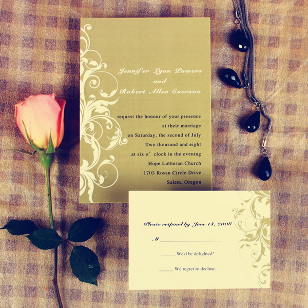 vintage white and brown damask fall wedding invitations