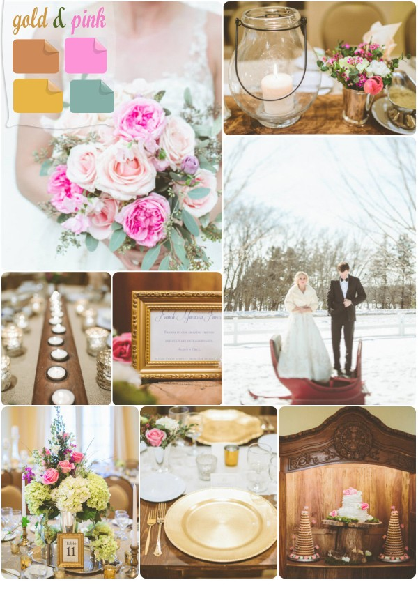 winter wedding color palette ideas pink and gold 2013 trends