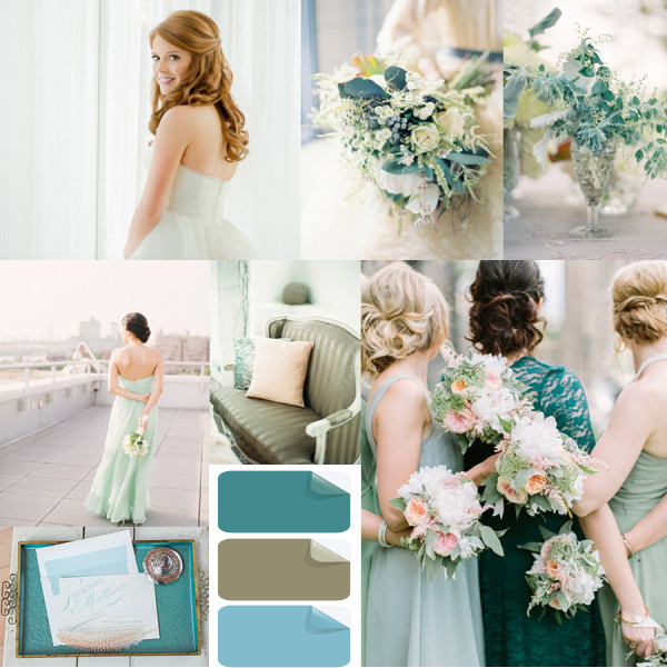 2014 wedding color trends ideas Teal and Mint inspirations