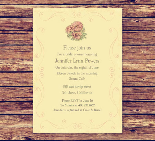 affordable pink vintage wedding shower invitation cards