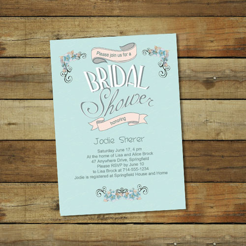 affordable printable tea party bridal shower invitations online