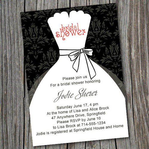 black and white wedding dress vintage printable bridal shower invitations