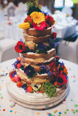 colorful naked wedding cakes 2013 2014 trends