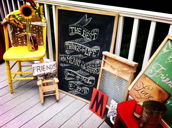 country rustic bridal shower chalk entrance sign decorations 2013 2014