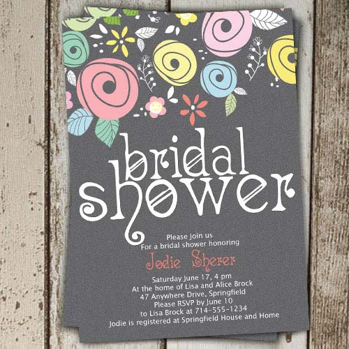 country rustic printable floral bridal shower invites online