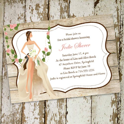 country rustic vintage garden themed bridal shower invitation