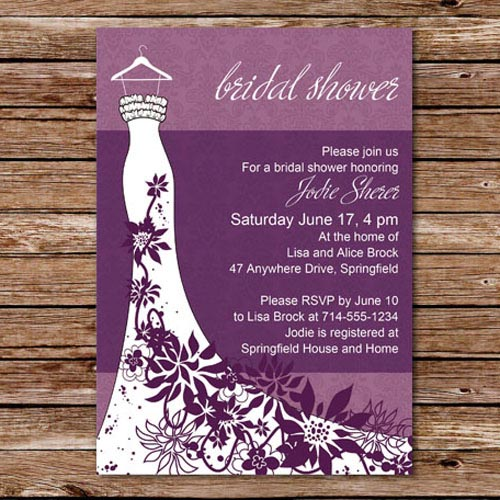 elegant long wedding dress purple printable bridal shower invitation