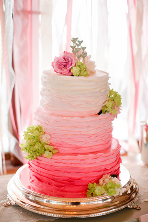 fabulous pink ombre wedding cakes with green decorations