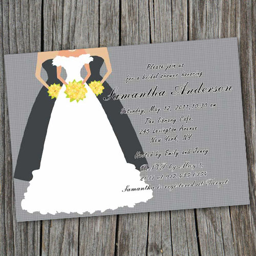 gray printable wedding gown bridal shower invitation