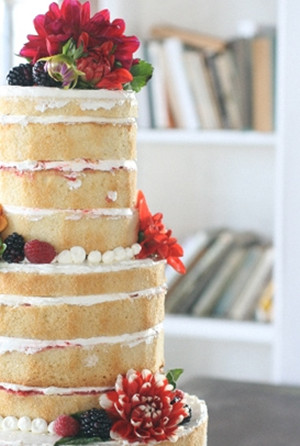 naked wedding cakes with red flowers and fruits 2013 trends