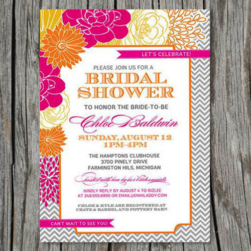printable orange and hot pink floral bridal shower invitations