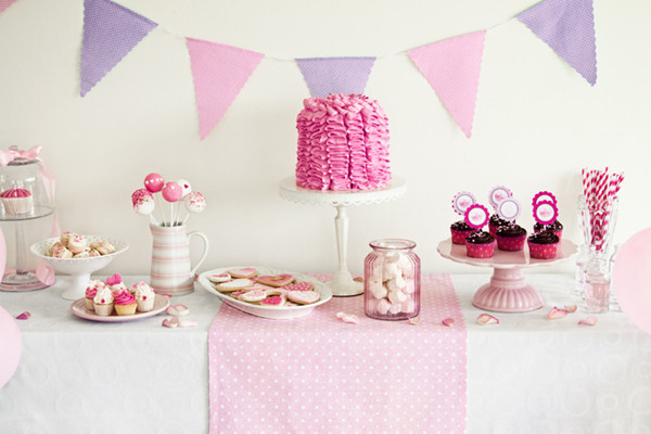 purple and pink girly bridal shower buffet decoration ideas trends for 20132014