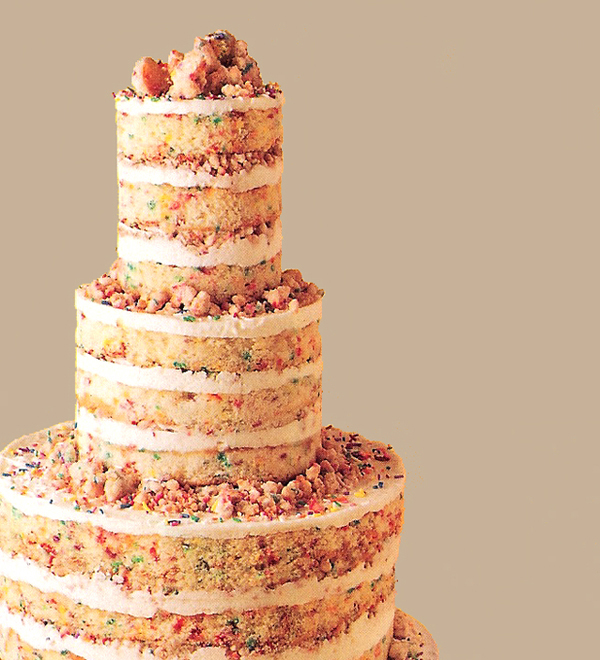 rainbow colors naked wedding cakes