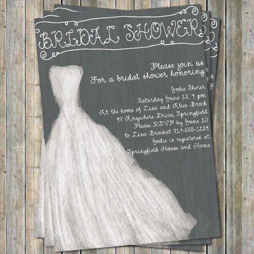 rustic printable wedding dress bridal shower invitations online