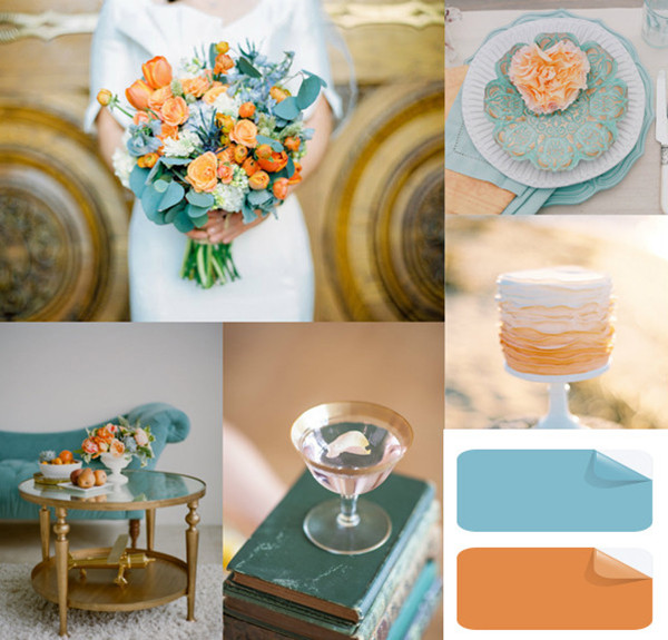 trending peach and teal inspired blue wedding ideas